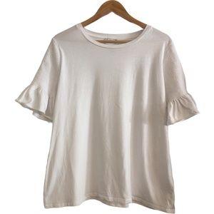 Witchery White T-Shirt Size Large Ruffle Sleeved